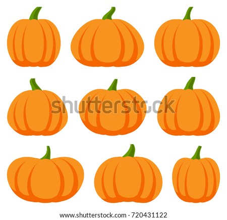 Cartoon halloween pumpkin set different shapes stock vector cartoon halloween pumpkin set different shapes and sizes orange gourd isolated on white background thecheapjerseys Choice Image