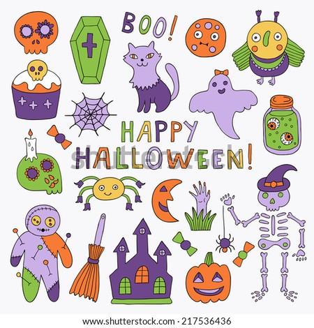 Cartoon halloween set. Vector illustration. - stock vector