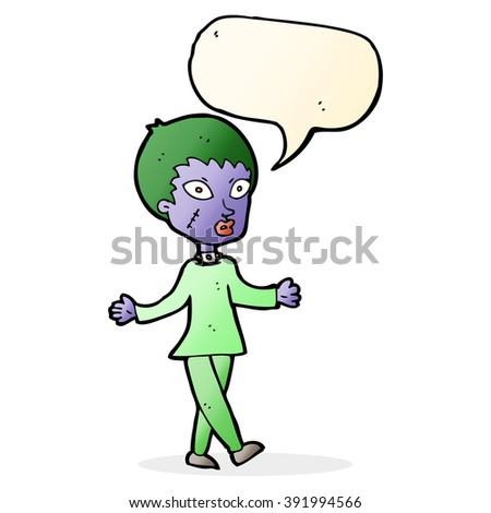 cartoon halloween zombie woman with speech bubble - stock vector
