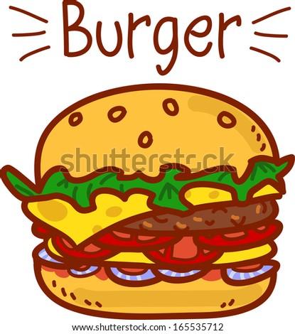 Cartoon hamburger on white with the inscription - stock vector