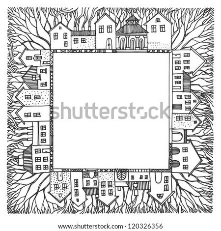 Cartoon hand drawing houses frame - stock vector