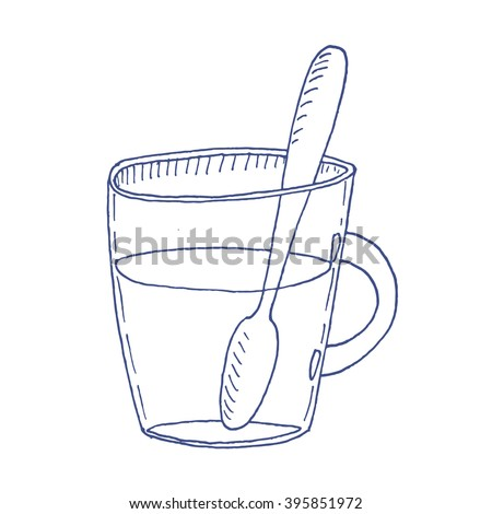 Cartoon hand drawn cup of tea. Vector sketch illustration, isolated object.