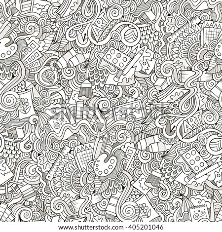 Cartoon hand-drawn doodles art, design, artist seamless pattern. Line art detailed, with lots of objects vector background. Sketchy tile backdrop. - stock vector