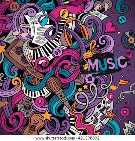 Cartoon hand-drawn doodles Musical illustration. Colorful detailed border, with lots of objects vector background - stock vector