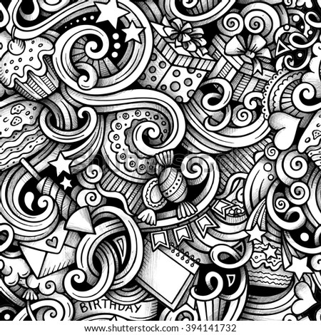 Cartoon hand-drawn doodles on the subject holidays, birthday theme seamless pattern. Line art trace detailed, with lots of objects vector background - stock vector