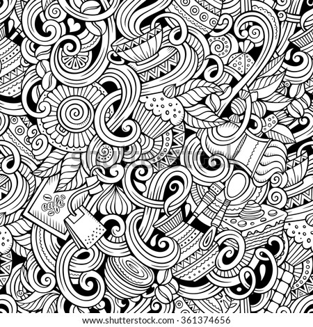 Cartoon hand-drawn doodles on the subject of cafe, coffee shop theme seamless pattern. Line art sketchy detailed, with lots of objects vector background - stock vector