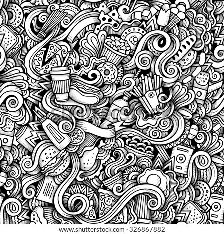 Cartoon hand-drawn doodles on the subject of Fast Food style theme seamless pattern. Contour trace vector background - stock vector