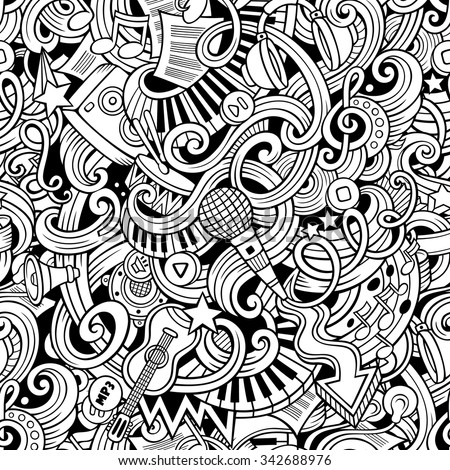 Cartoon hand-drawn doodles on the subject of music style theme seamless pattern. Vector line art background - stock vector
