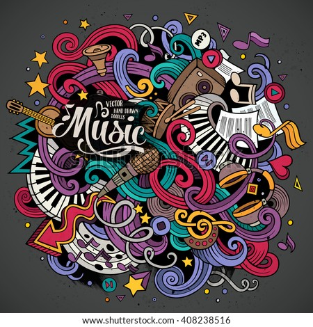 Cartoon hand-drawn doodles on the subject of Musical illustration. Colorful detailed, with lots of objects vector background