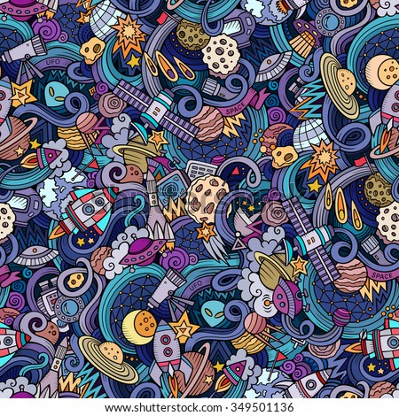 Cartoon hand-drawn doodles on the subject of space style theme seamless pattern. Vector  background - stock vector
