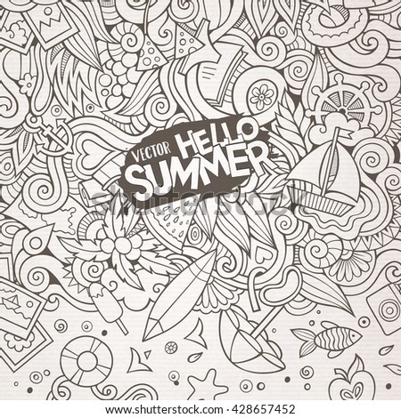 Cartoon hand-drawn doodles summer illustration. Line art detailed, with lots of objects vector background