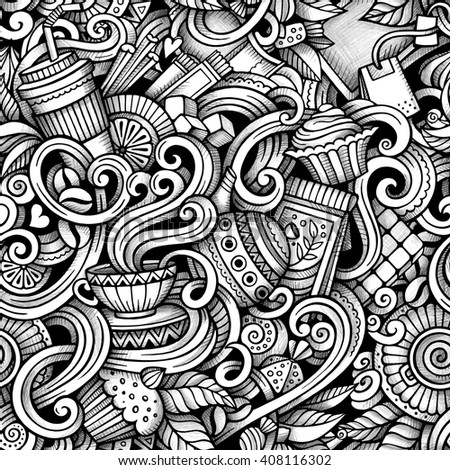 Cartoon hand-drawn doodles tea and coffee seamless pattern. Line art trace detailed, with lots of objects vector background - stock vector
