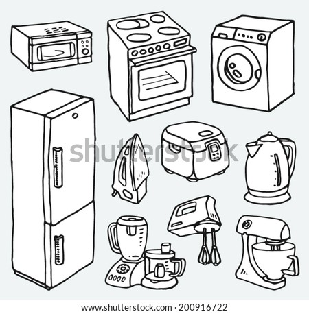 Cartoon hand-drawn household appliances for cooking and cleaning. Electric teapot, stove, washing machine, microwave, multi cooker, blender, mixer, food processor, frige, flatiron. Vector images set. - stock vector