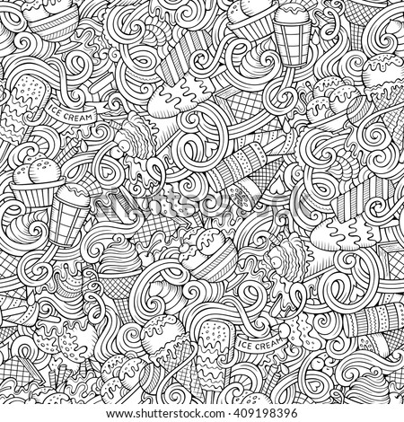 Cartoon hand-drawn ice cream doodles seamless pattern. Line art detailed, with lots of objects vector background - stock vector