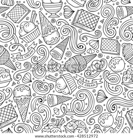 Cartoon hand drawn ice cream seamless pattern. Lots of symbols, objects and elements. Perfect funny vector background.