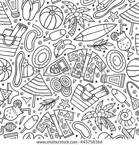 Cartoon hand-drawn summer time seamless pattern. Line art detailed, with lots of objects funny vector background
