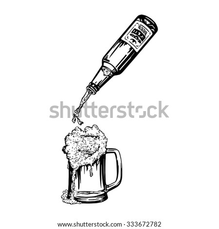 cartoon, hand drawn, vector, sketch, illustration of Beer pouring from bottle in mug and foam - stock vector