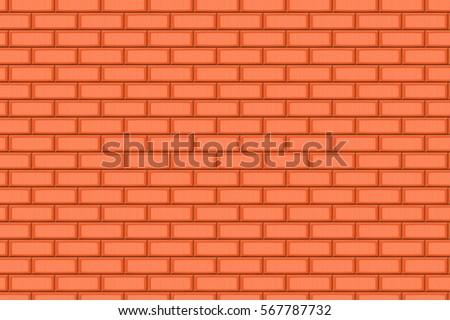 Cartoon Hand Drown Orange Realistic Seamless Brick Wall Texture Vector Illustration