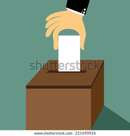 Cartoon hand inserting a paper ballot voting on a ballot box vector illustration.