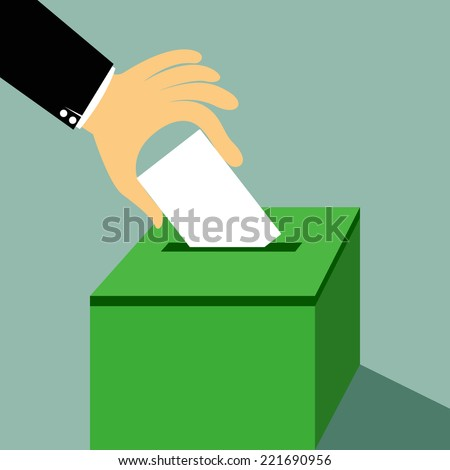 Cartoon hand inserting a paper ballot voting on a ballot box vector illustration. - stock vector