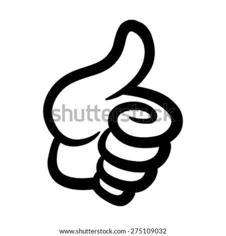 Cartoon Hand Making Positive Thumbs Up Gesture - stock vector