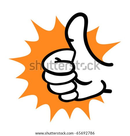 Cartoon hand thumb up gesture. Vector illustration. - stock vector