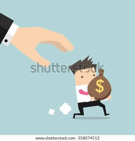 Cartoon hand tries to grab the bag of money running businessman. - stock vector