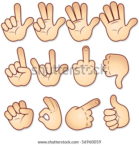 Cartoon hands collection-vector icon set- -MORE SIMILAR HANDS SEE AT MY GALLERY - stock vector