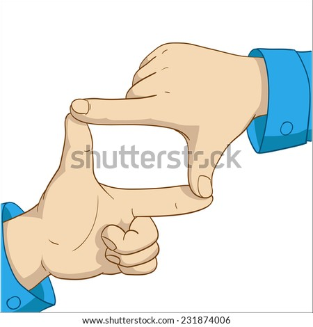 Cartoon hands frame isolated on white background. Vector illustration. - stock vector