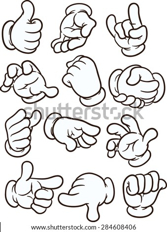 Cartoon hands making different gestures. Vector clip art illustration with simple gradients. Each on a separate layer - stock vector