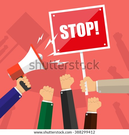 Cartoon hands of demonstrants and hand with Megaphone and stop sign, protest concept, revolution, conflict, vector illustration in flat design, on red background - stock vector