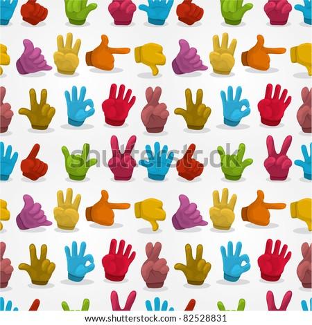 Cartoon Hands seamless pattern - stock vector