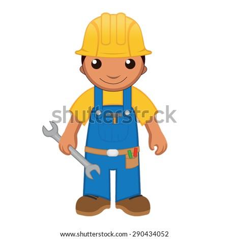 Cartoon handyman with a wrench - stock vector