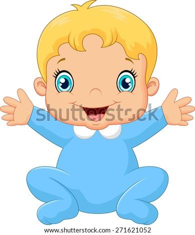 Cartoon happy baby boy - stock vector