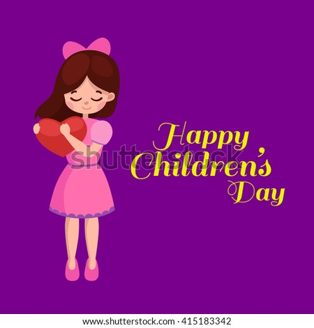 Cartoon happy baby girl with red heard in his hands celebration Happy Mothers Day. love mom greeting card background vector illustration. holiday decoration design - stock vector