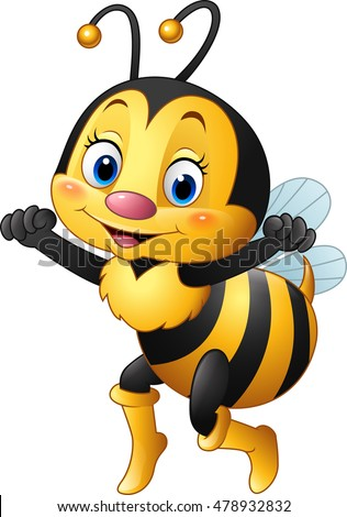 Cartoon happy bee