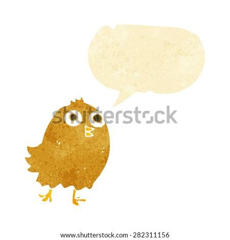 cartoon happy bird with speech bubble - stock vector
