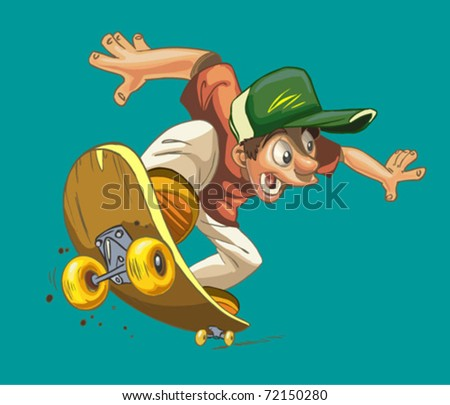 cartoon happy boy on a skateboard isolated on a green background - stock vector