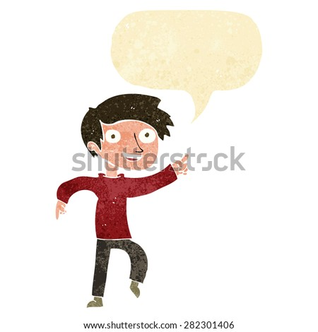 cartoon happy boy pointing with speech bubble - stock vector