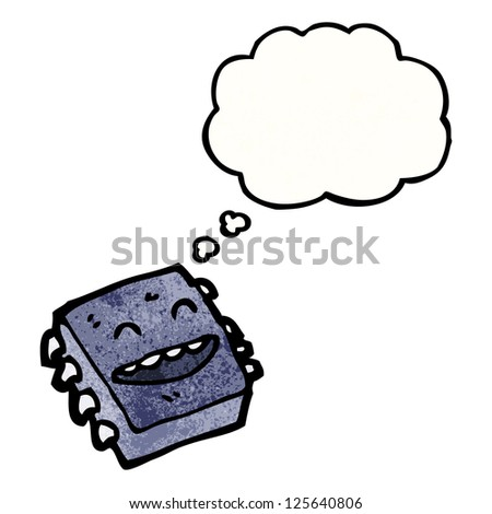 cartoon happy computer chip