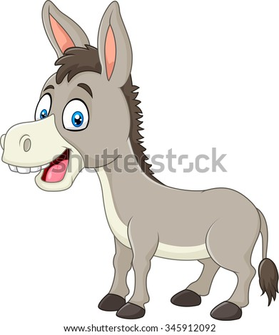Cartoon happy donkey isolated on white background - stock vector