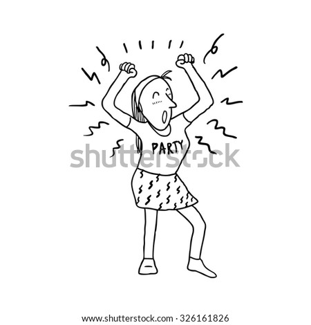 cartoon happy girl dancing - stock vector