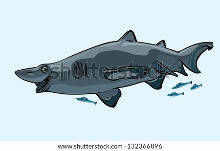 Cartoon happy gray shark and blue fish on a white background
