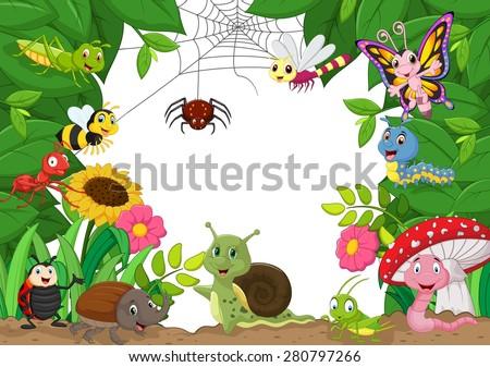 Cartoon happy little animals . vector illustration - stock vector
