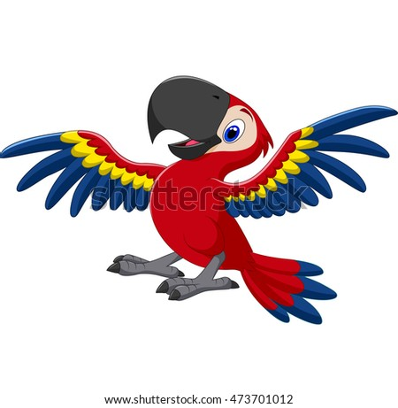 Cartoon happy macaw flying