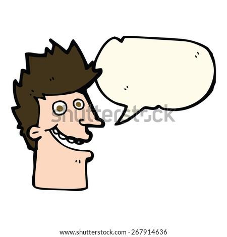 cartoon happy man face with speech bubble - stock vector