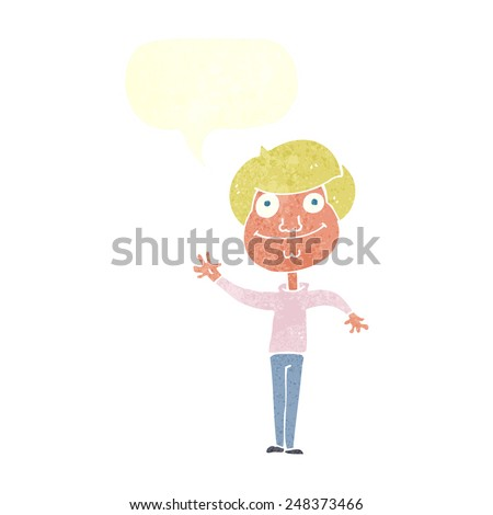 cartoon happy man waving with speech bubble
