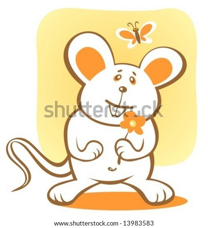 Cartoon happy mouse and flower on a yellow background.