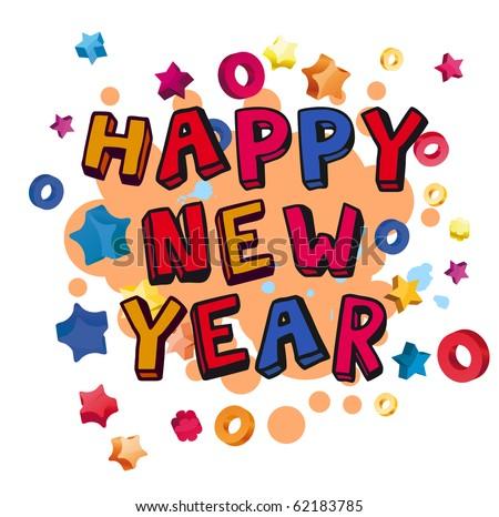 Cartoon happy new year - stock vector