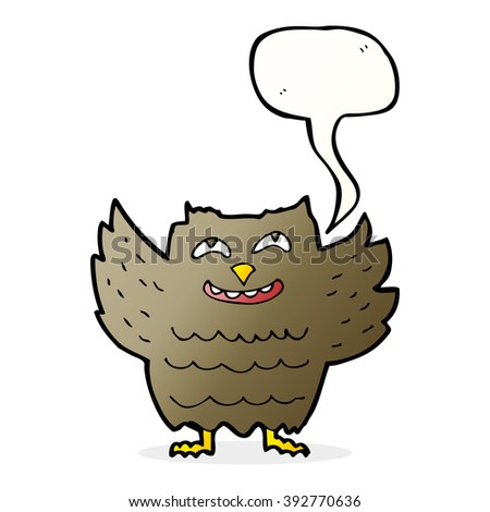 cartoon happy owl with speech bubble